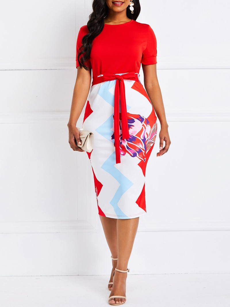 Ericdress Bodycon Color Block Lace-Up Dress