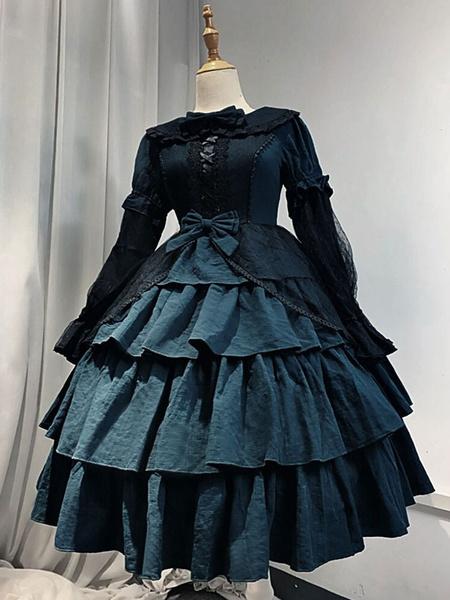Milanoo Gothic Lolita Dress Dark Fairy Tale OP Neverland Bow Layered Ruffles Burgundy Lolita One Piece Dress Original Design