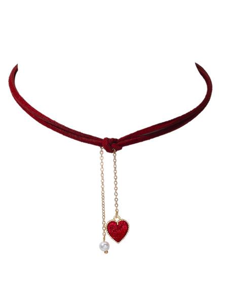 Milanoo Necklaces Burgundy Jacquard Cotton Women Jewelry