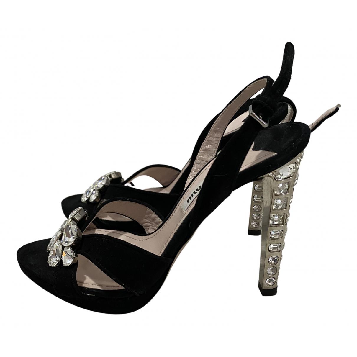 Miu Miu \N Black Leather Sandals for Women 35 EU
