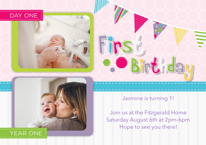 1st Birthday Invitations 5x7 Cards, Standard Cardstock 85lb, Card & Stationery -Whimiscal Milestone First Birthday, Girl