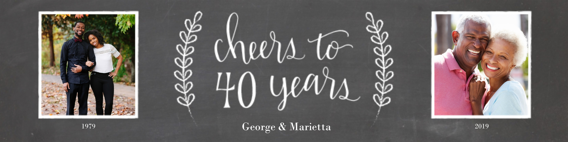 Anniversary Photo Banner 2x8, Home Décor -Chalkboard Anniversary