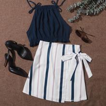 Knot Side Frill Trim Top & Striped Skirt Set