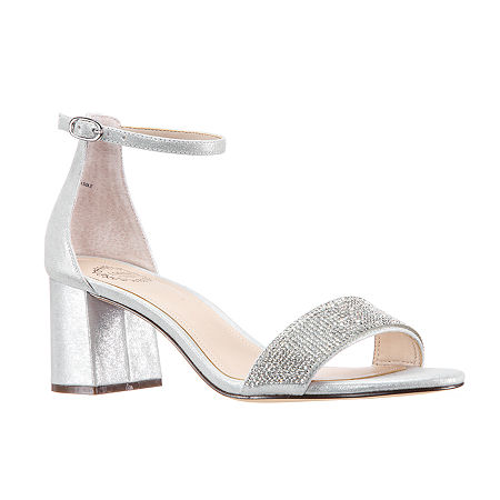 I. Miller Shoes Womens Emely Buckle Open Toe Block Heel Pumps, 8 1/2 Medium, Silver