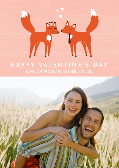 Valentine's Cards Flat Matte Photo Paper Cards with Envelopes, 5x7, Card & Stationery -Fantastic Foxes