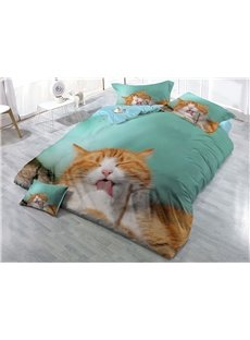 Yellow Cat Licking The Hair Wear-resistant Breathable High Quality 60s Cotton 4-Piece 3D Bedding Sets