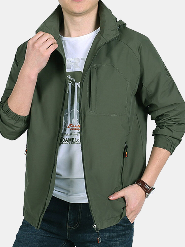 Mens Outdoor Breathable Sunscreen Climbing Thin Zip Up Hooded Jackets