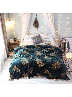 Golden Leaf Luxury Dark Green Super Soft Flannel Blanket For Winter