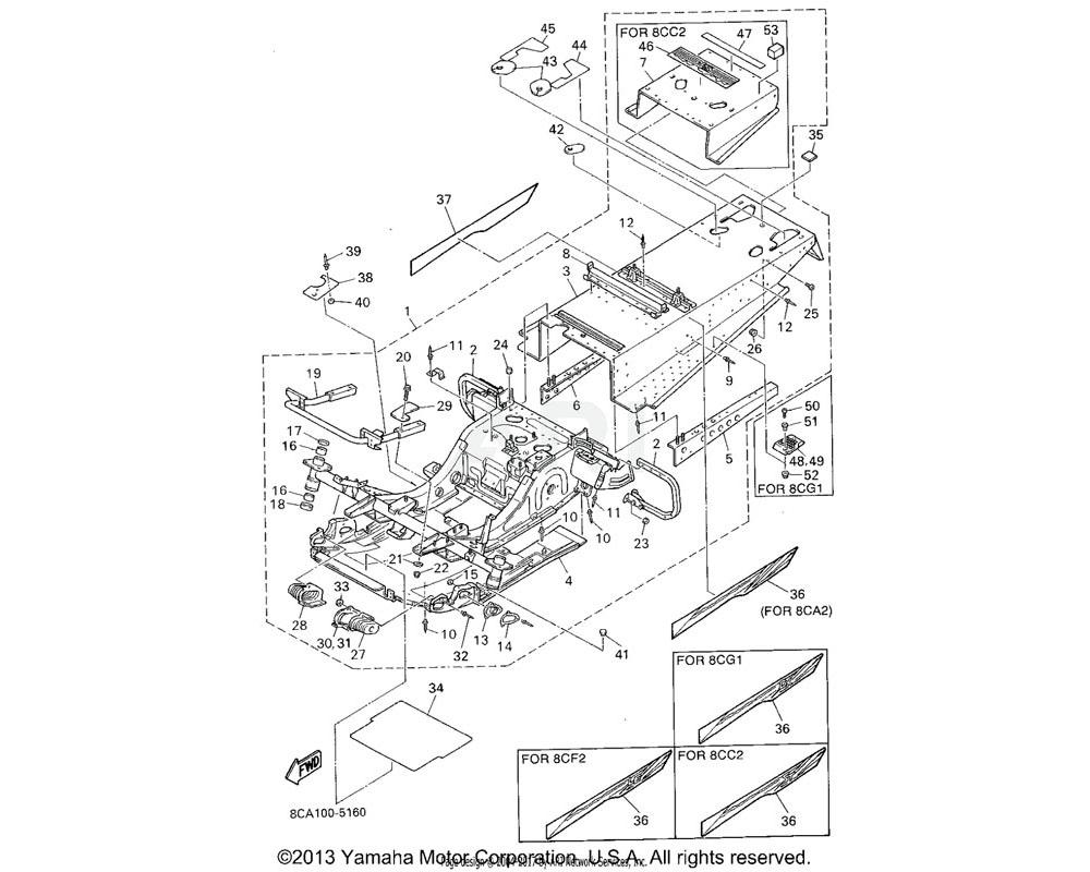 Yamaha OEM 8CL-21916-00-00 PANEL, SUB FRAME 5 | UR FOR 8CG1