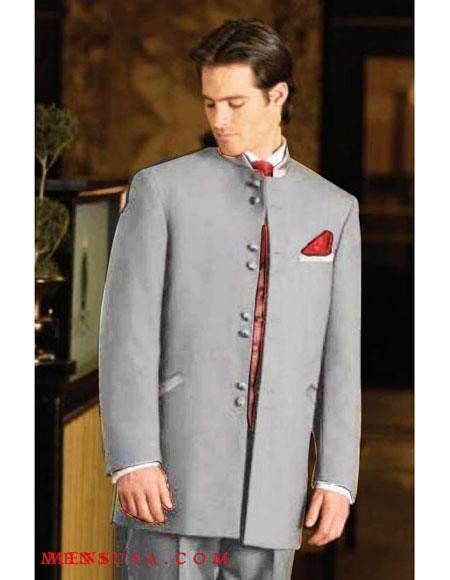 Men's Mandarin Light Grey Tuxedo Single Breasted Suit