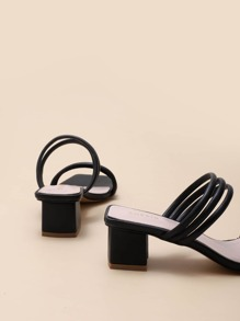 Open Toe Strappy Chunky Heeled Mules