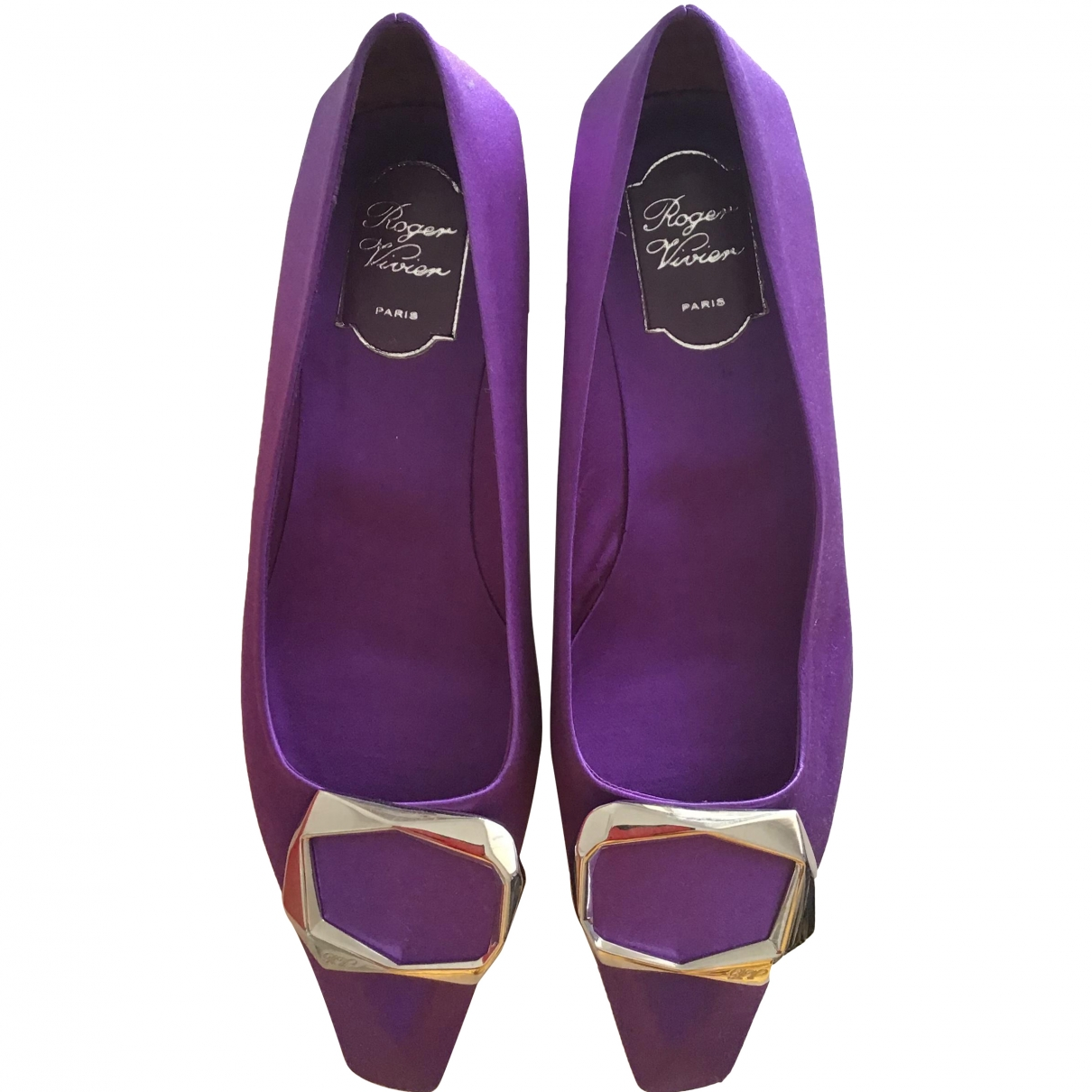 Roger Vivier \N Purple Cloth Ballet flats for Women 39 EU