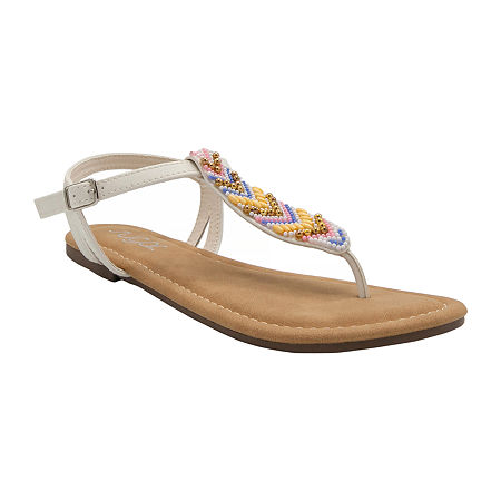Sugar Womens Polina Slingback Strap Flat Sandals, 11 Medium, White