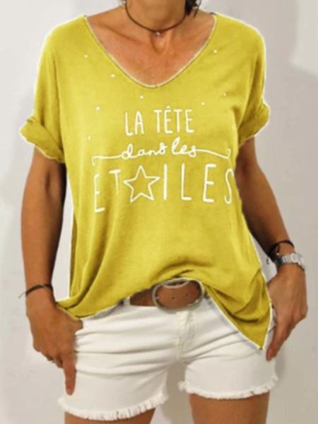 Milanoo Short Sleeves Tees Light Sky Blue V-Neck Polyester Women T Shirt