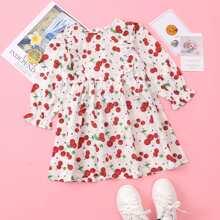 Toddler Girls Cherry Print Ruffle Trim Flounce Sleeve Dress