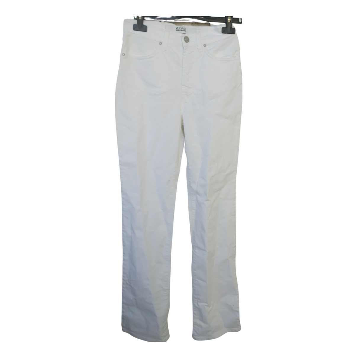 Versace Jeans \N White Cotton Trousers for Women 40 IT