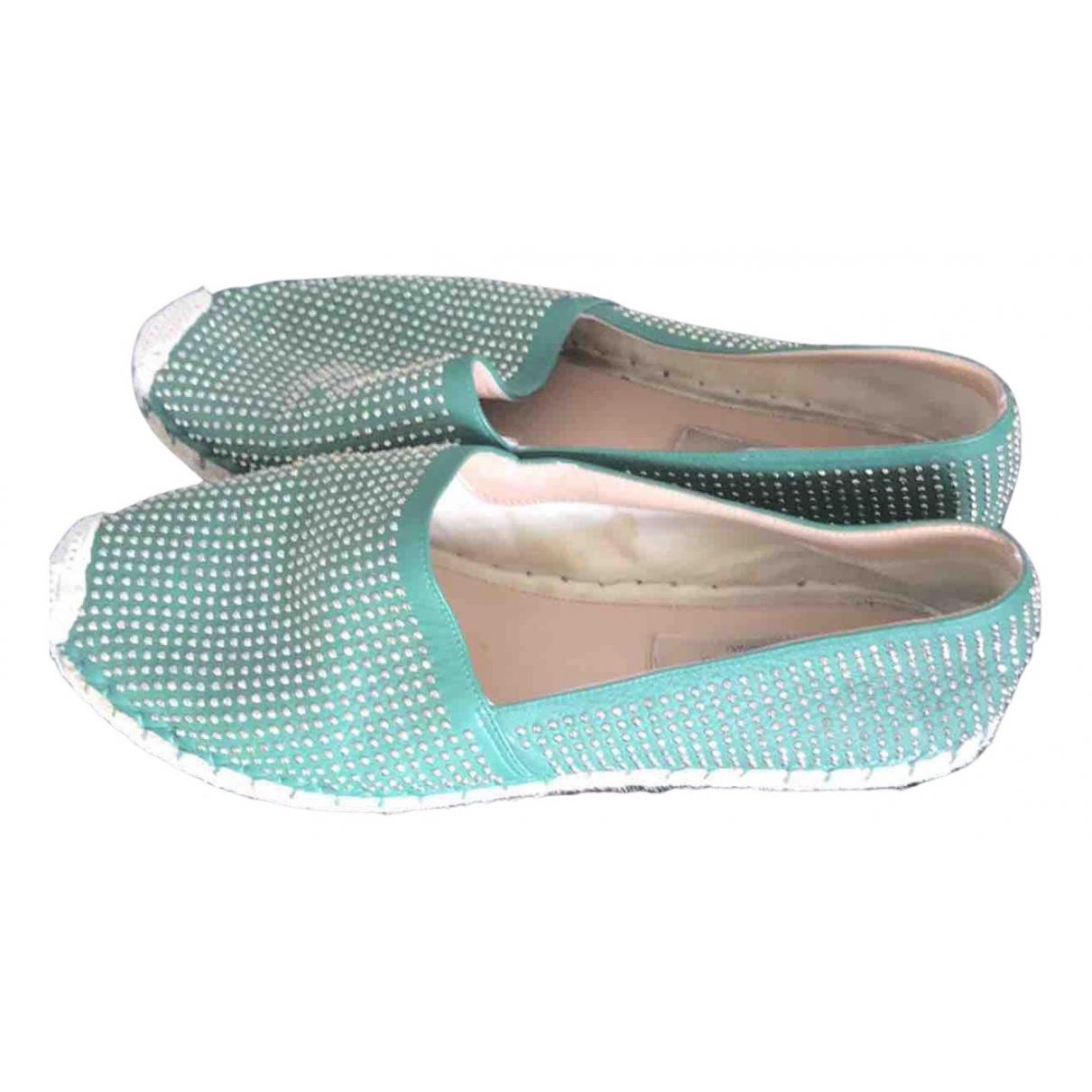 Valentino Garavani \N Green Leather Espadrilles for Women 38 EU