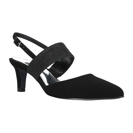 Easy Street Womens Gisella Pumps Spike Heel, 6 1/2 Wide, Black
