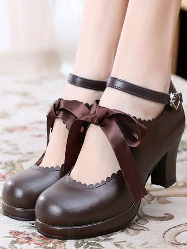 Milanoo Classic Lolita Shoes Square Toe Platform Prism Heel Bows Deep Brown Lolita Shoes