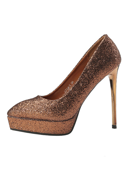 Milanoo Women High Heels Red Pointed Toe Stiletto Heel Slip On Party Shoes Glitter Evening Shoes