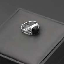Guys Rhinestone Engraved Ring