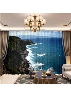 3D Chiffon Air Permeable 2 Panels Decorative Sheer with Fantastic Sea View