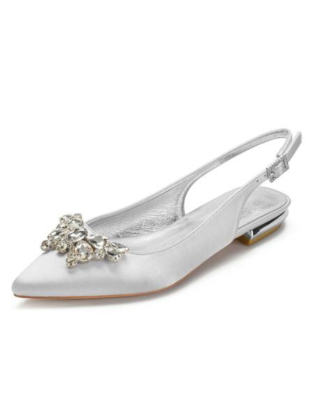 Milanoo Wedding Shoes Satin Silver Pointed Toe Rhinestones Flat Sling Back Wedding Shoes
