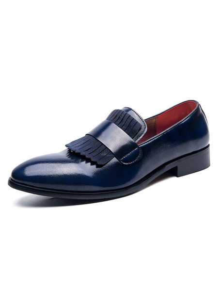 Milanoo Mens Loafer Shoes Slip-On Round Toe PU Leather Blue Dress Shoes Party Shoes