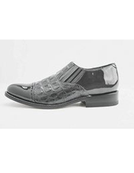 Men's Leather Sole Slip on Grey Cap Toe Shoes