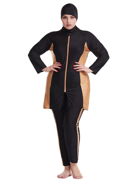 Milanoo Muslim Swimsuit Women Burkini Long Sleeve Nylon Beach Bathing Suit