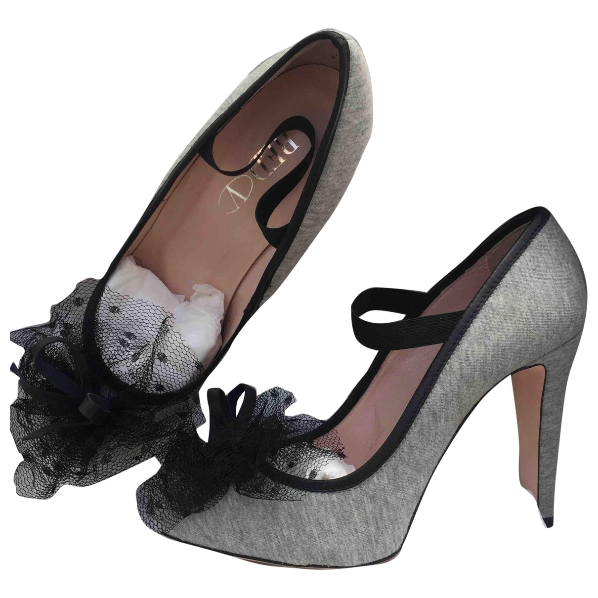 Red Valentino Garavani \N Grey Cloth Heels for Women 39.5 EU