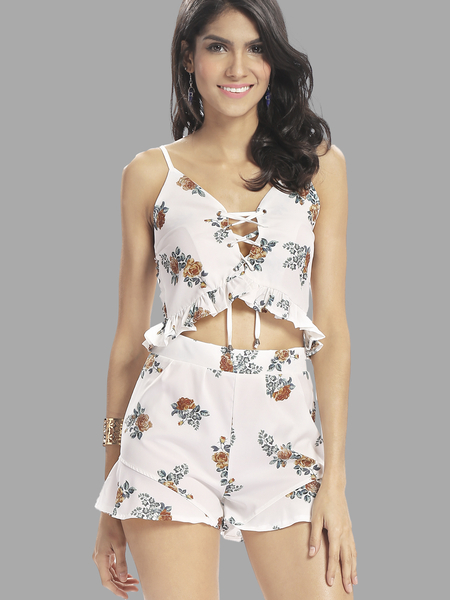Yoins Floral Print Hollow Out Co-ord