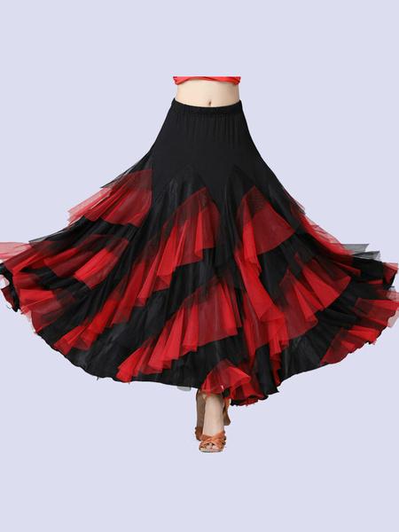 Milanoo Ballroom Dance Costumes Rufflt Twto Tone Dancer Long Skirt Dance Dress