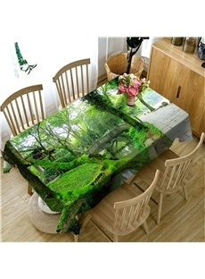 3D Thick Green Trees and Pavilion Printed High Quality Home Table Runner Cloth Cover