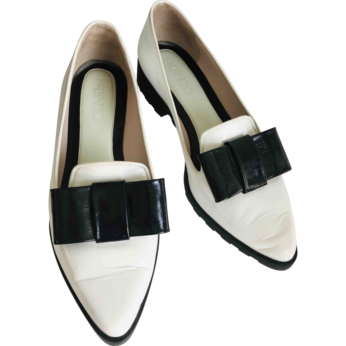 Kenzo \N White Patent leather Flats for Women 38 EU