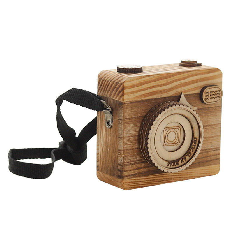 Hangable Camera Music Box Creative Handmade Wooden Music Box Clockwork Perfect Gift