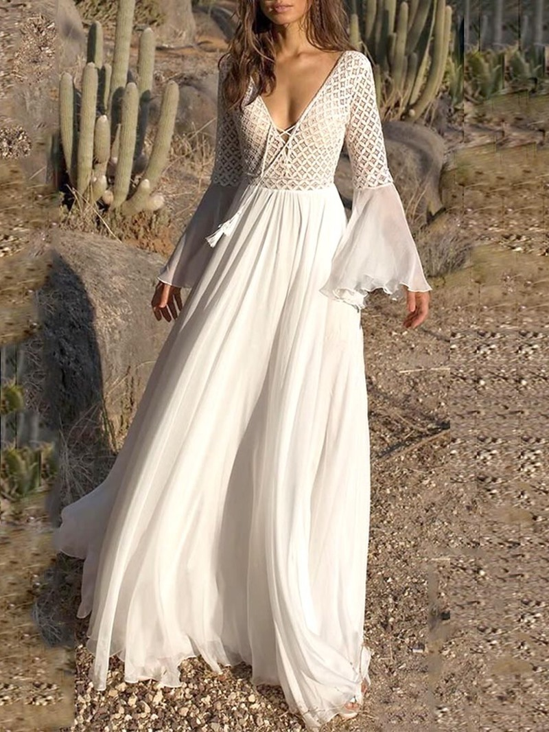 Ericdress Flare Sleeve See-Through Expansion V-Neck Maxi Dress