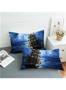 A Sailboat on The Blue Sea Reactive Printing 2-Piece Polyester Pillowcase