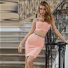 Sesidy Letter Tape Cami Top & Bandage Skirt Set