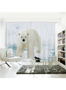 White Polar Bear Pattern 3D Painted Polyester 2 Panels Curtain