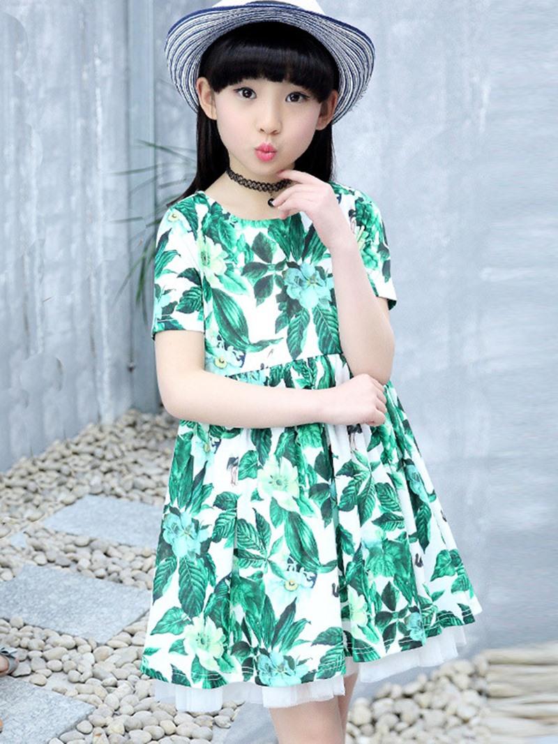 Ericdress Refreshing Leaves Floral Print Summer Girls Dress
