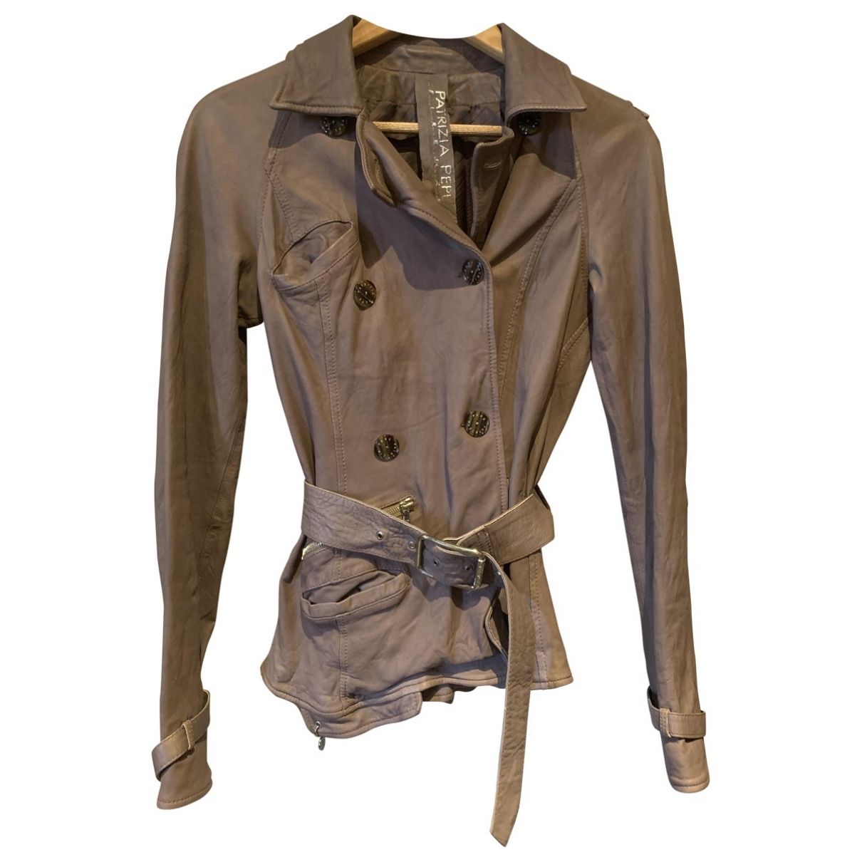 Patrizia Pepe \N Brown Leather Leather jacket for Women 42 FR