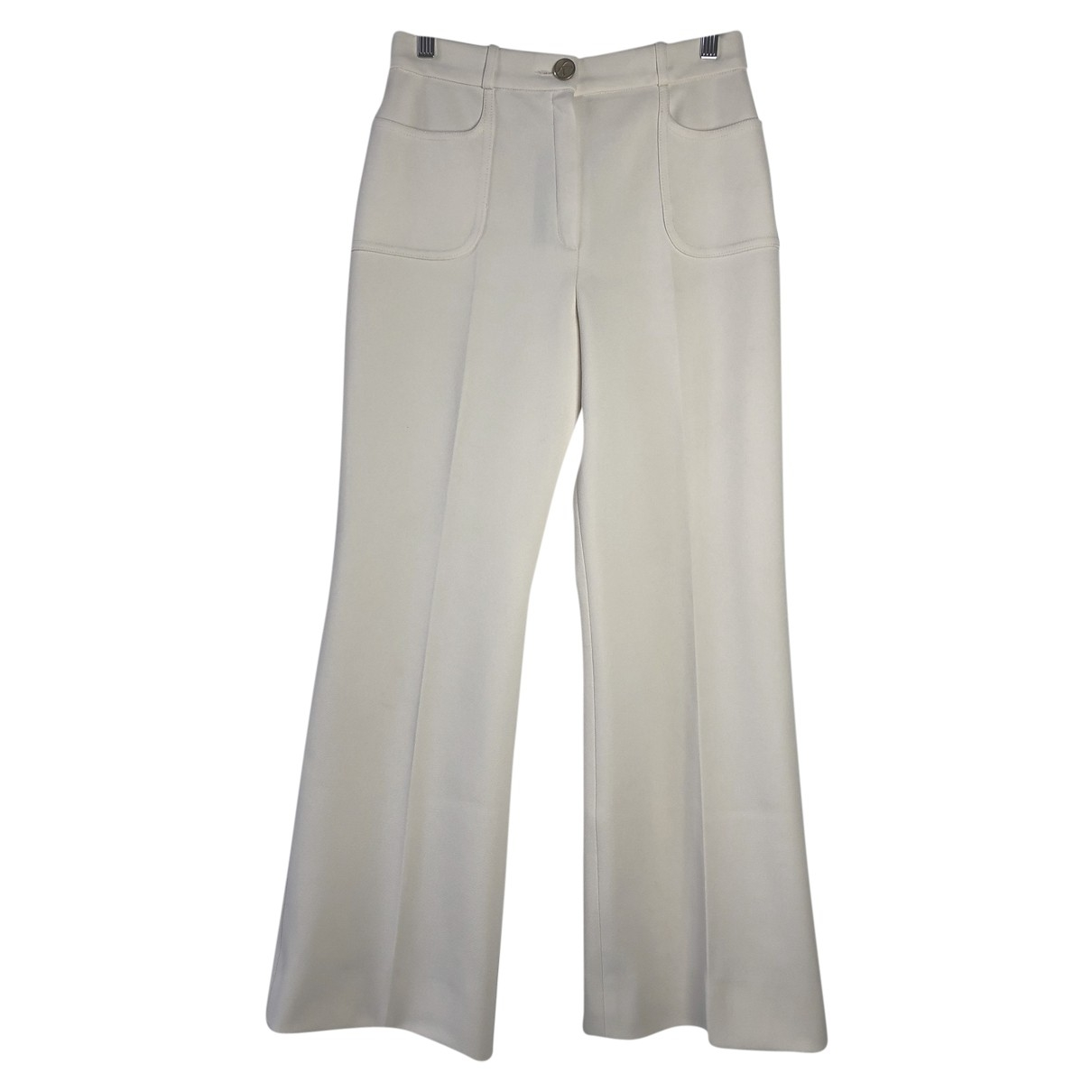 Non Signé / Unsigned \N White Trousers for Women 12 US