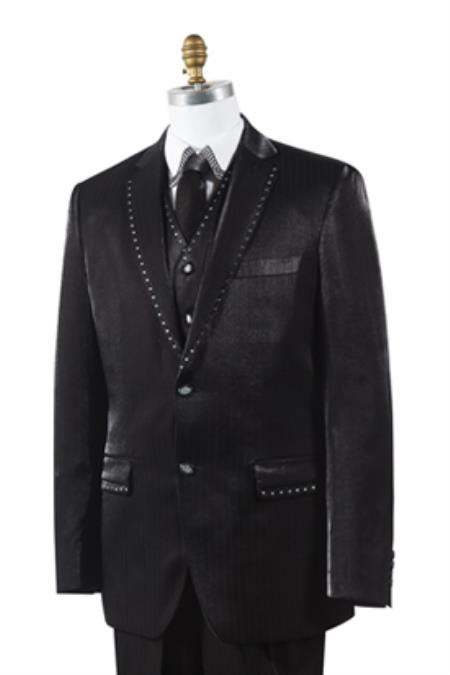 2 Button Tuxedo Trimmed Pleated Pants Vested 3 Piece Mens Suits Black