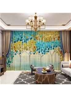 3D Whatercolor Cartoon Tree Printed Decorative 2 Panels Custom Sheer