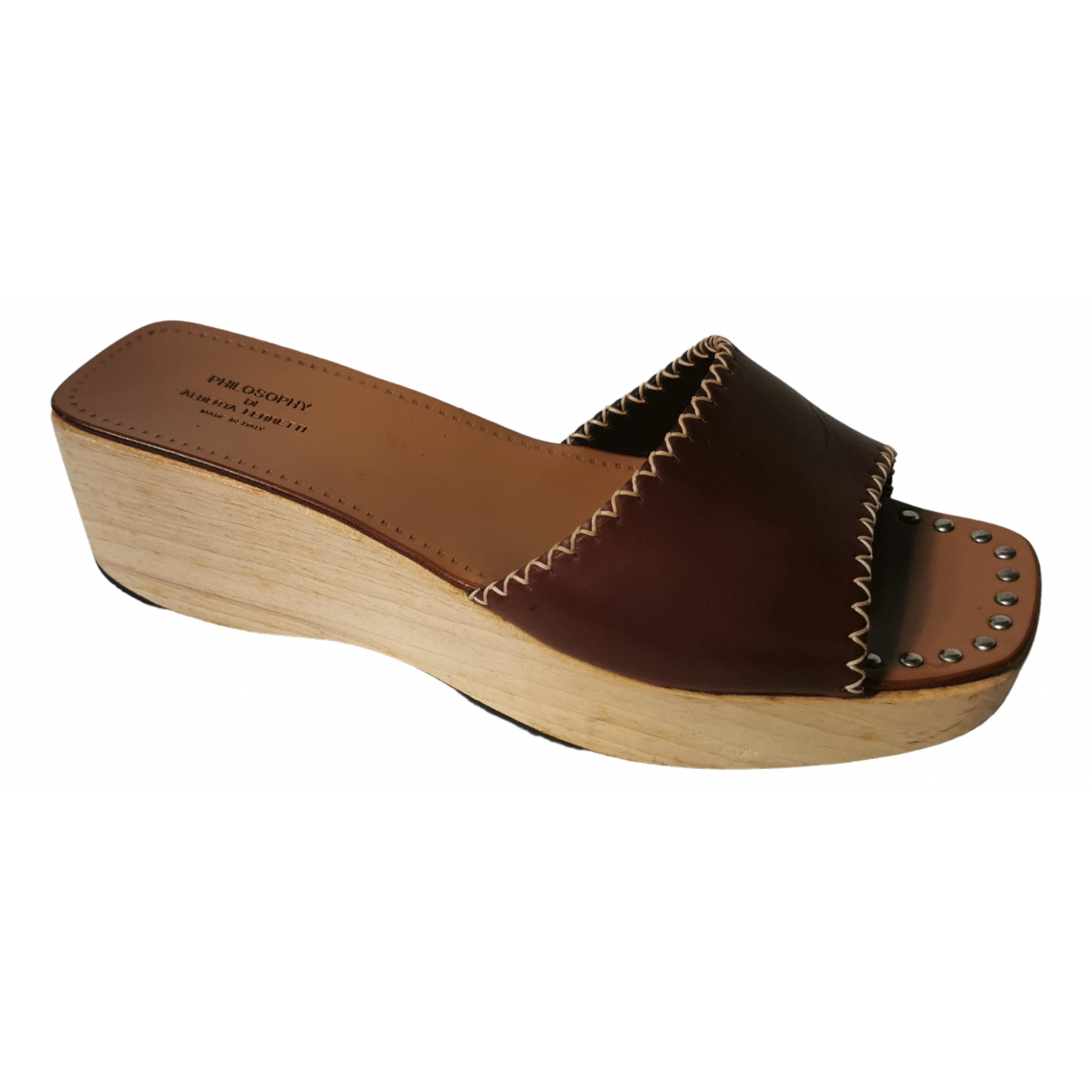 Philosophy Di Alberta Ferretti \N Camel Leather Sandals for Women 36 EU