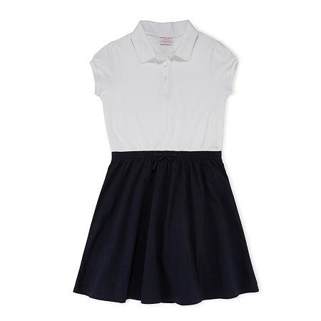 IZOD Little & Big Girls Short Sleeve Cap Sleeve Shirt Dress, 7 , Blue