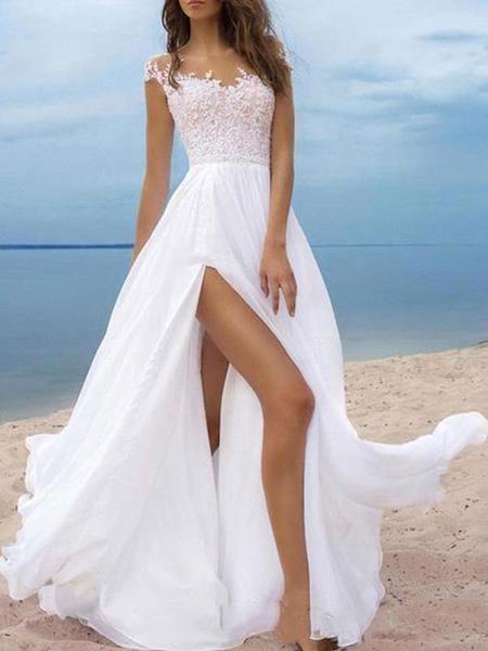 Milanoo Boho Wedding Dresses 2020 chiffon v neck Short Sleeves A Line Split Front Bridal Dresses For Beach Wedding