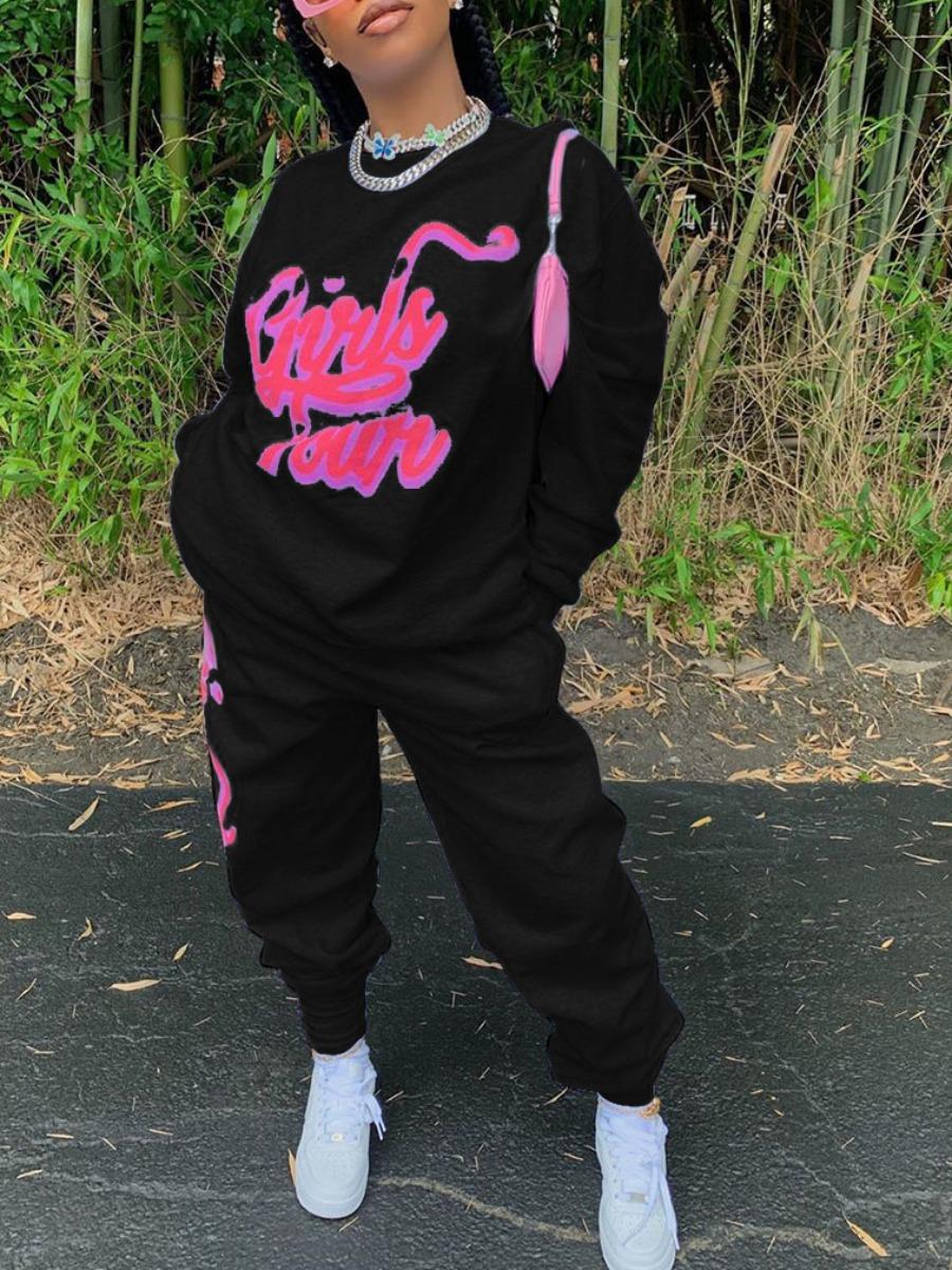 LW lovely Sportswear O Neck Letter Print Black Two Piece Pants Set