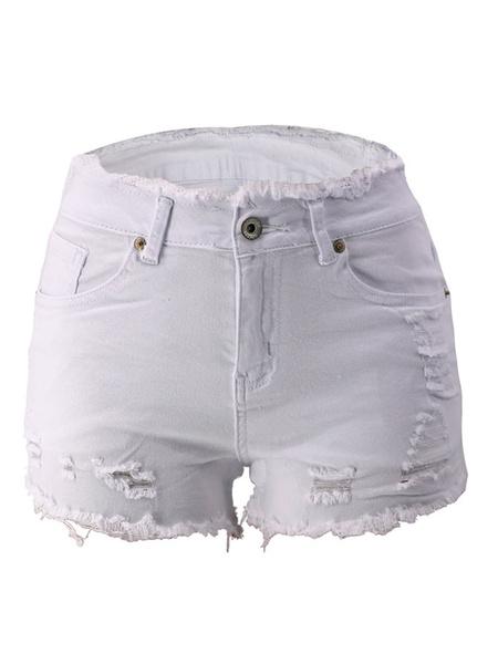 Milanoo Woman Denim Shorts Blue Straight Leg Casual Bottons